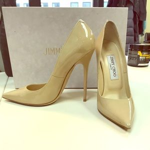"Nude patent leather Jimmy Choo pumps, 4"" heel"